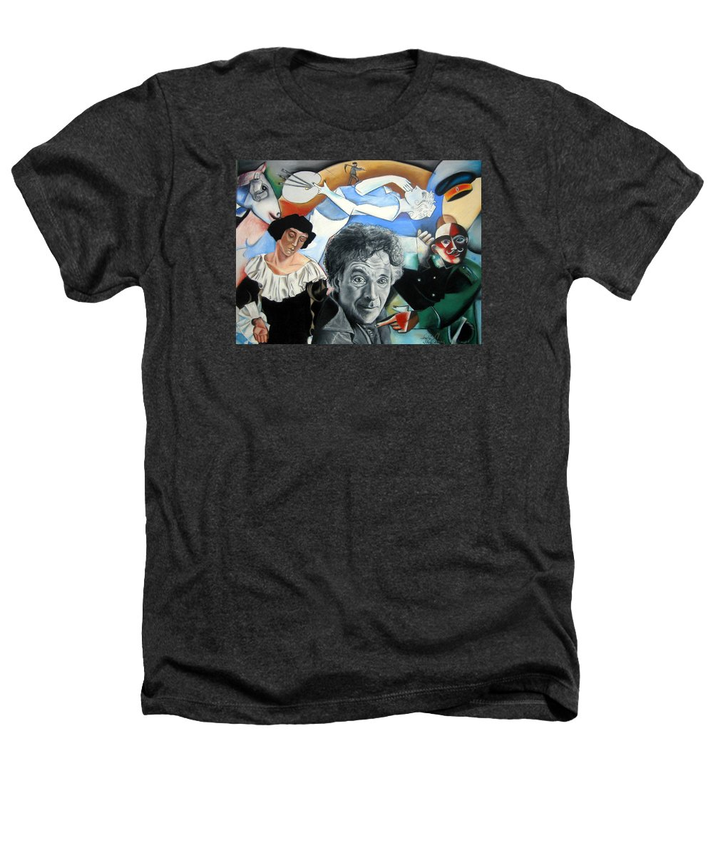 Chagall Portrait Heathers T-Shirt featuring the drawing M Chagall by Leyla Munteanu