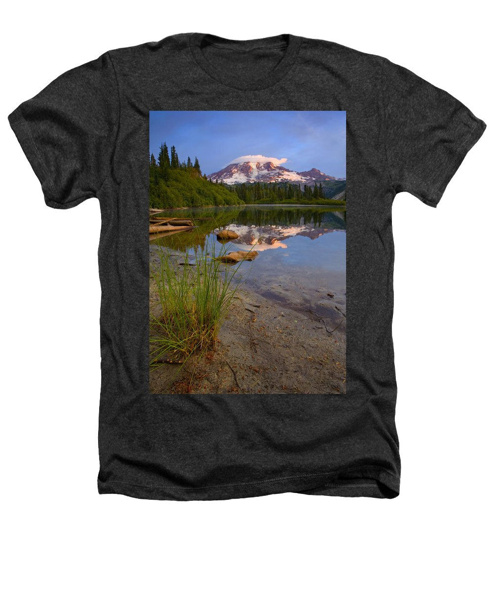 Mt. Rainier Heathers T-Shirt featuring the photograph Majestic Glow by Mike Dawson