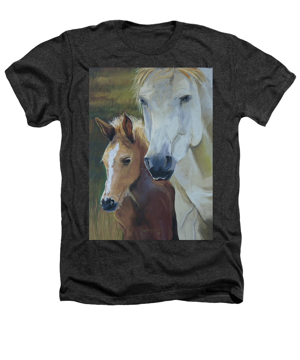 Horses Heathers T-Shirt featuring the painting Mama's Boy by Heather Coen