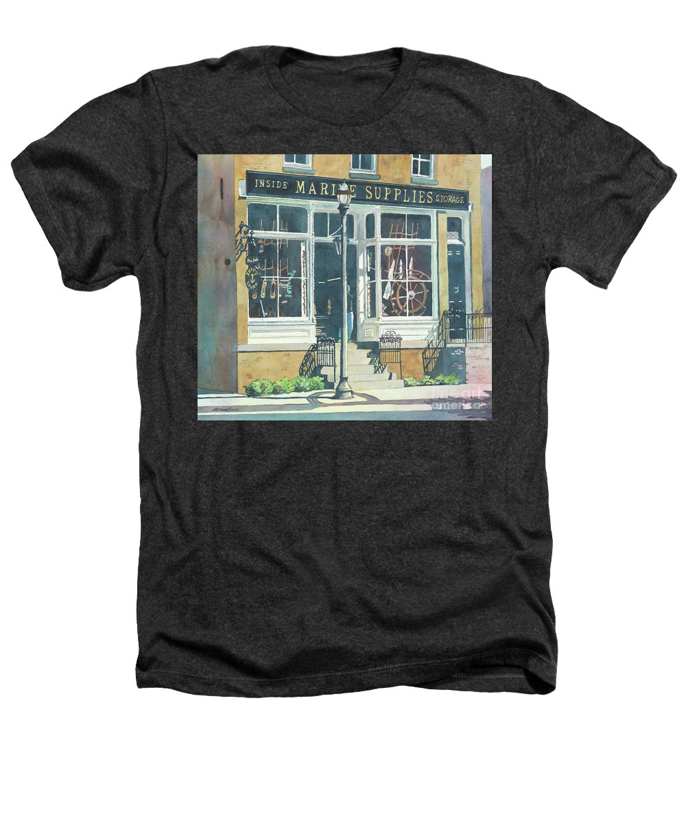 Storefronts Heathers T-Shirt featuring the painting Marine Supply Store by LeAnne Sowa