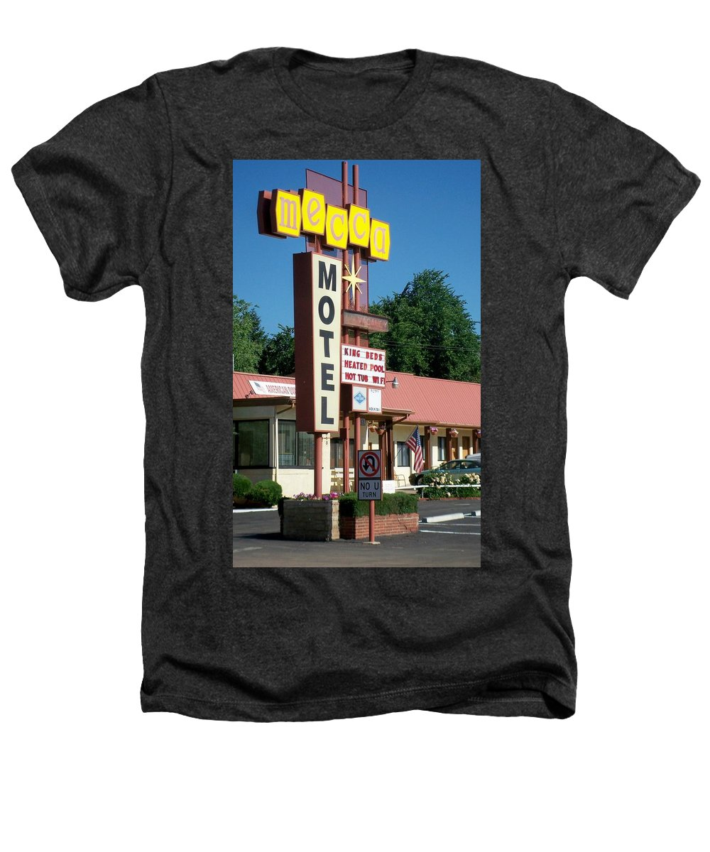 Vintage Motel Signs Heathers T-Shirt featuring the photograph Mecca Motel by Anita Burgermeister