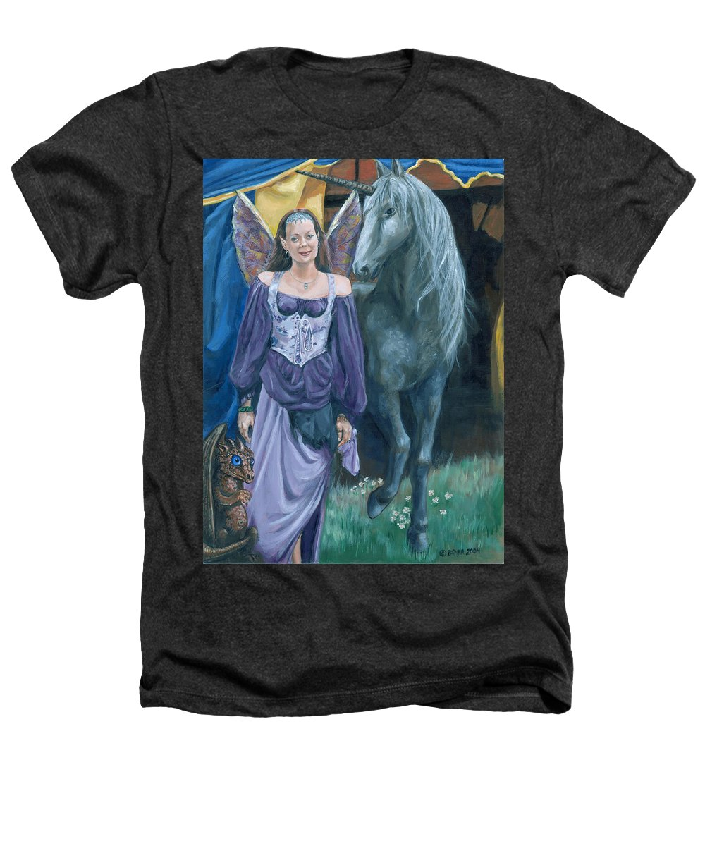 Fairy Faerie Unicorn Dragon Renaissance Festival Heathers T-Shirt featuring the painting Medieval Fantasy by Bryan Bustard