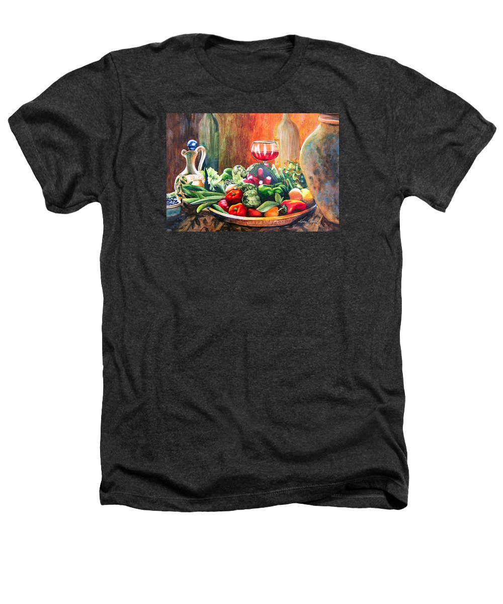 Still Life Heathers T-Shirt featuring the painting Mediterranean Table by Karen Stark