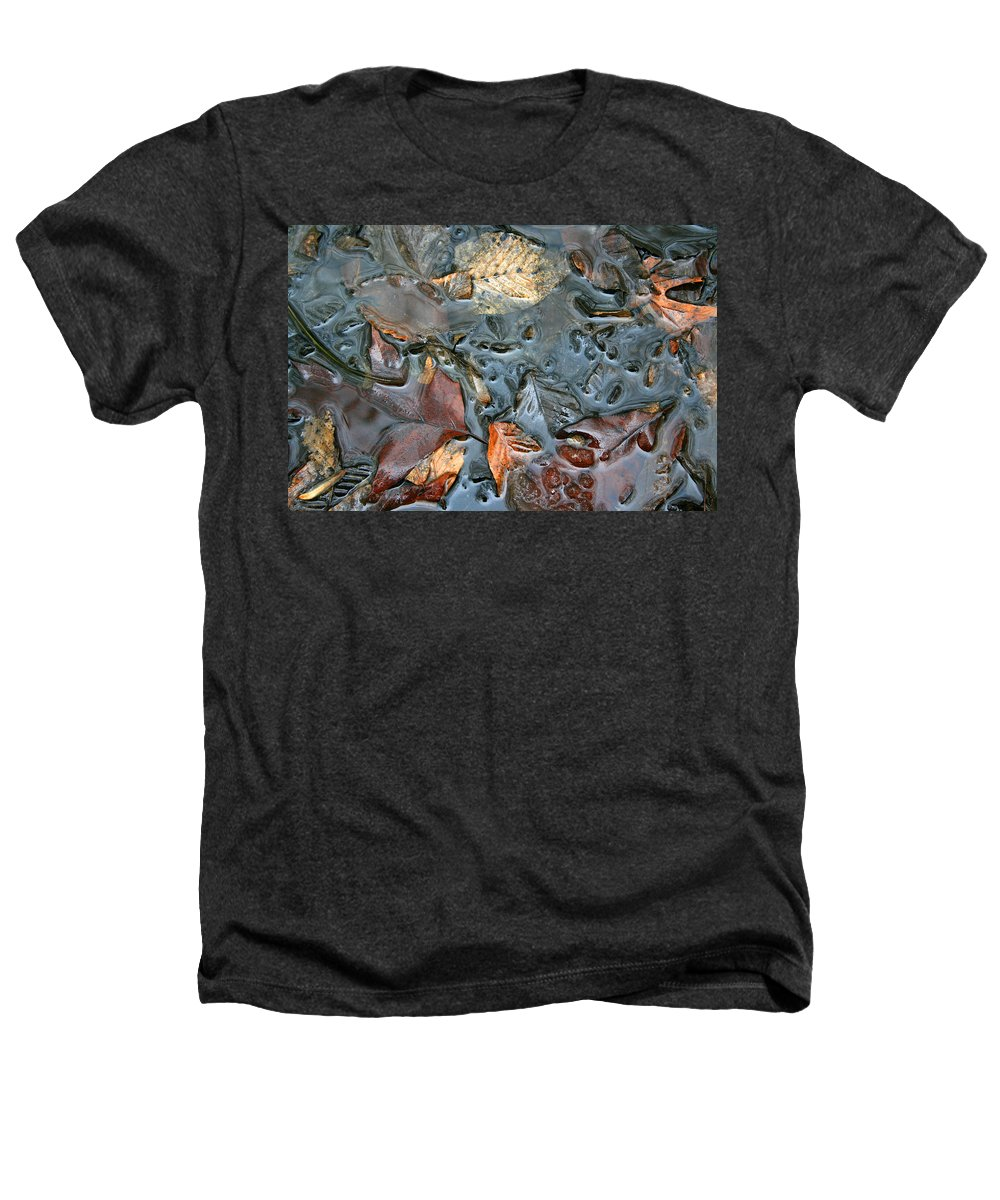 Nature Fall Leaf Leaves Colorful Water Melt Melted Reflect Reflection Outdoors Forest Woods Light Heathers T-Shirt featuring the photograph Melted Colors by Andrei Shliakhau