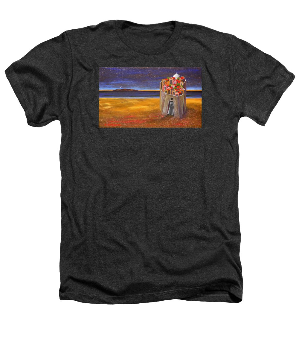 Superrealism Heathers T-Shirt featuring the painting Mesi Castle Village by Dimitris Milionis