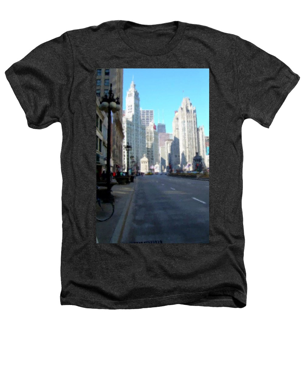 Chicago Heathers T-Shirt featuring the digital art Michigan Ave Tall by Anita Burgermeister