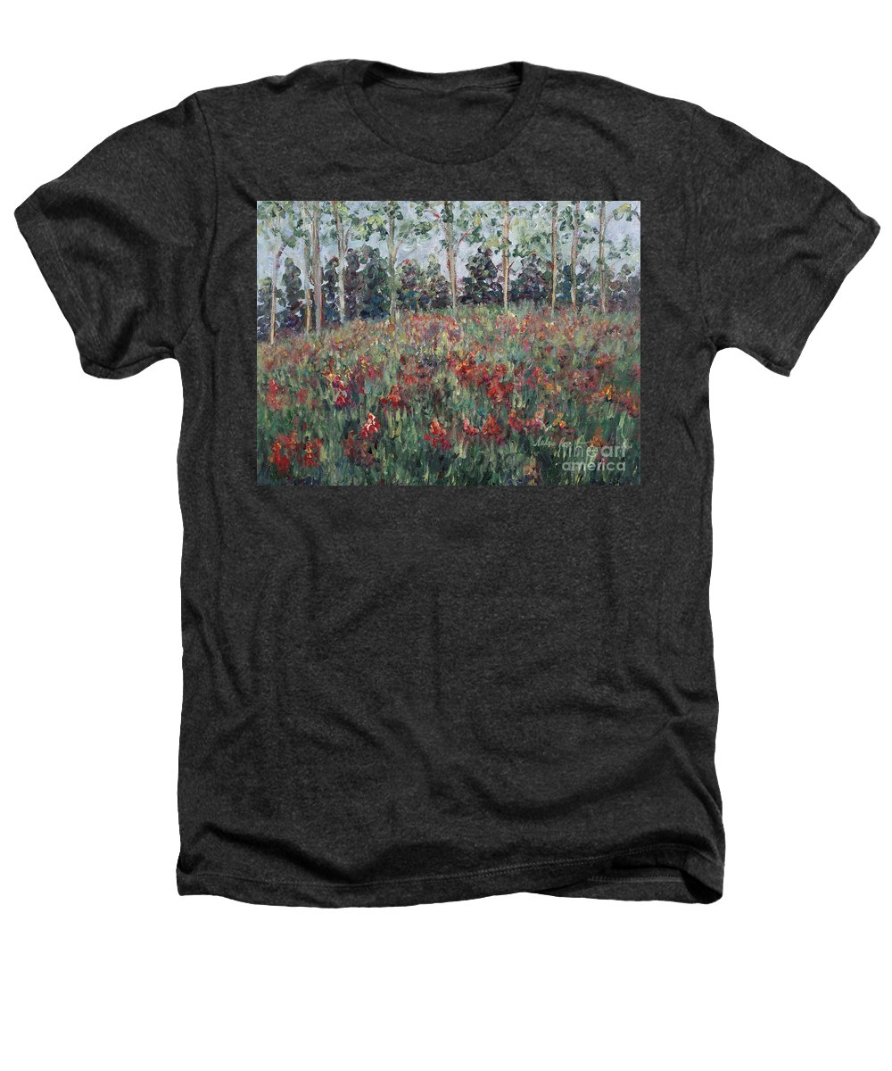 Landscape Heathers T-Shirt featuring the painting Minnesota Wildflowers by Nadine Rippelmeyer