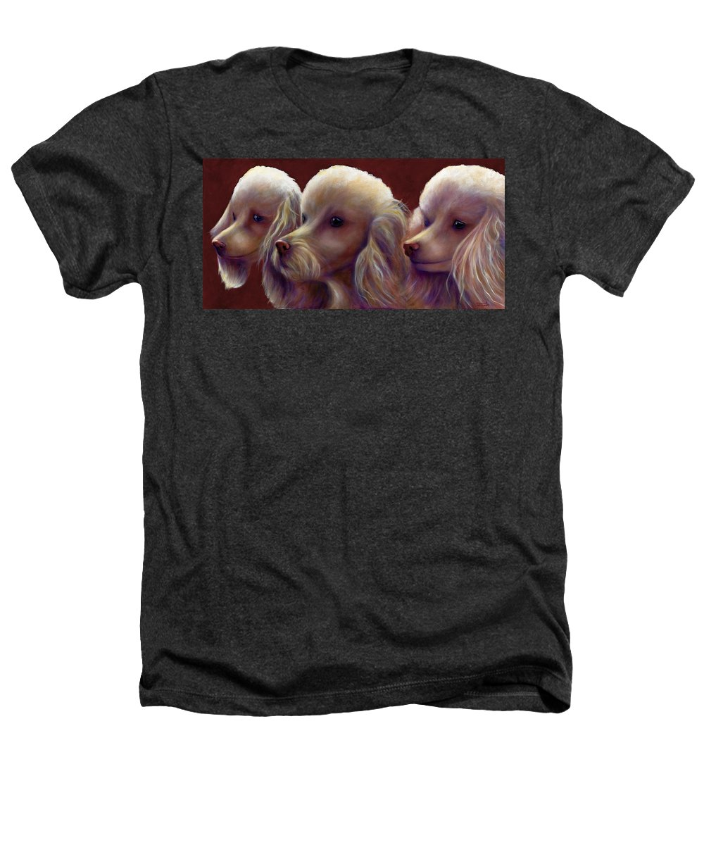 Dogs Heathers T-Shirt featuring the painting Molly Charlie And Abby by Shannon Grissom