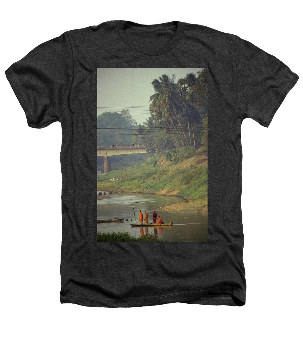 Monks Heathers T-Shirt featuring the photograph Monks - Battambang by Patrick Klauss