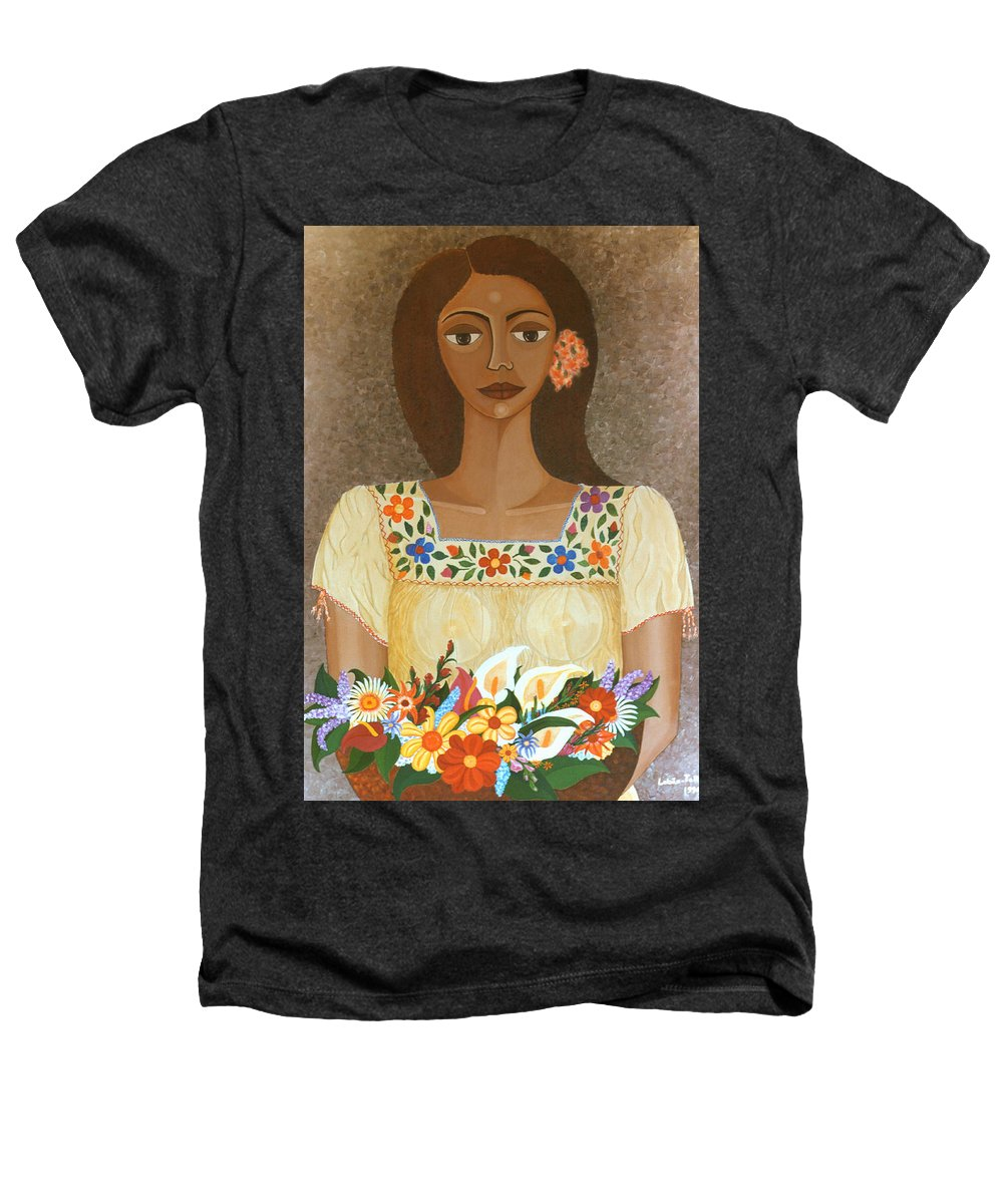 Oil Heathers T-Shirt featuring the painting More Than Flowers She Sold Illusions by Madalena Lobao-Tello