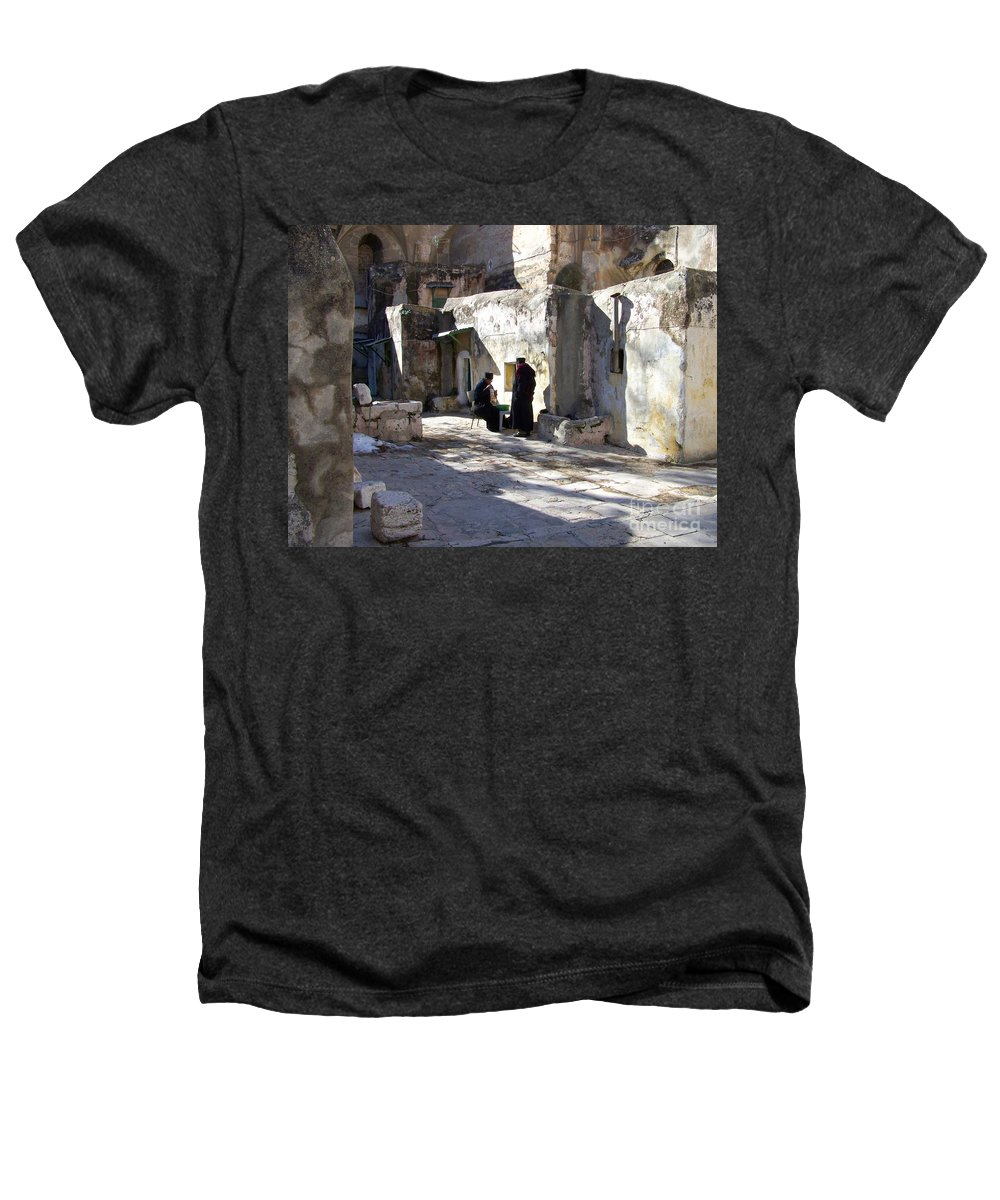 Jerusalem Heathers T-Shirt featuring the photograph Morning Conversation by Kathy McClure