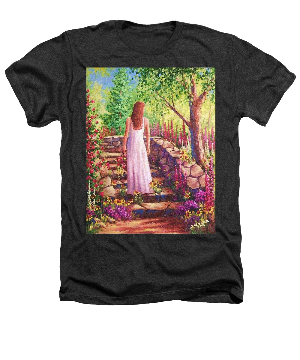 Woman Heathers T-Shirt featuring the painting Morning In Her Garden by David G Paul
