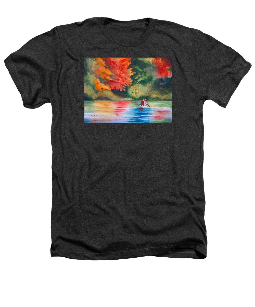 Lake Heathers T-Shirt featuring the painting Morning On The Lake by Karen Stark