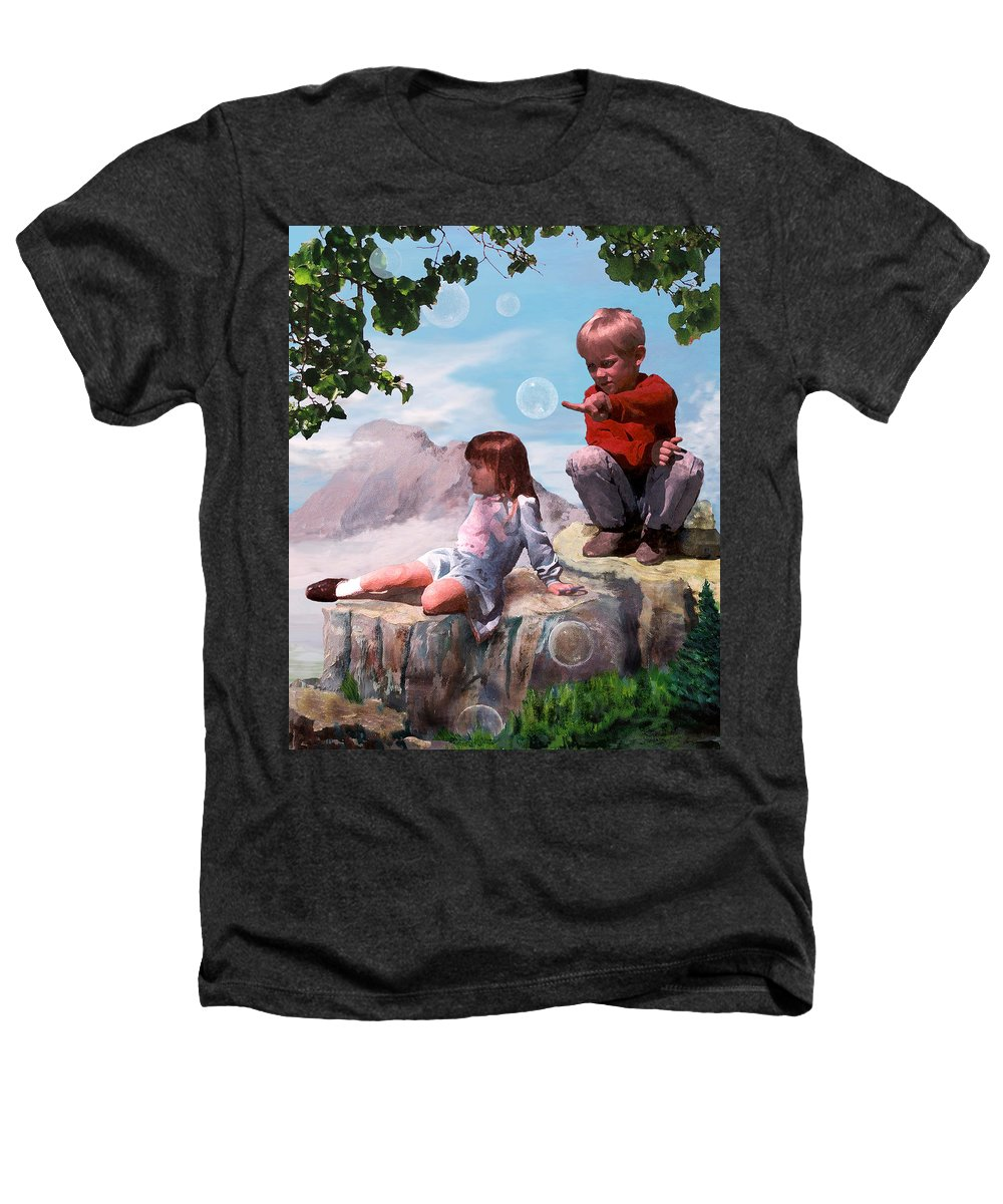Landscape Heathers T-Shirt featuring the painting Mount Innocence by Steve Karol