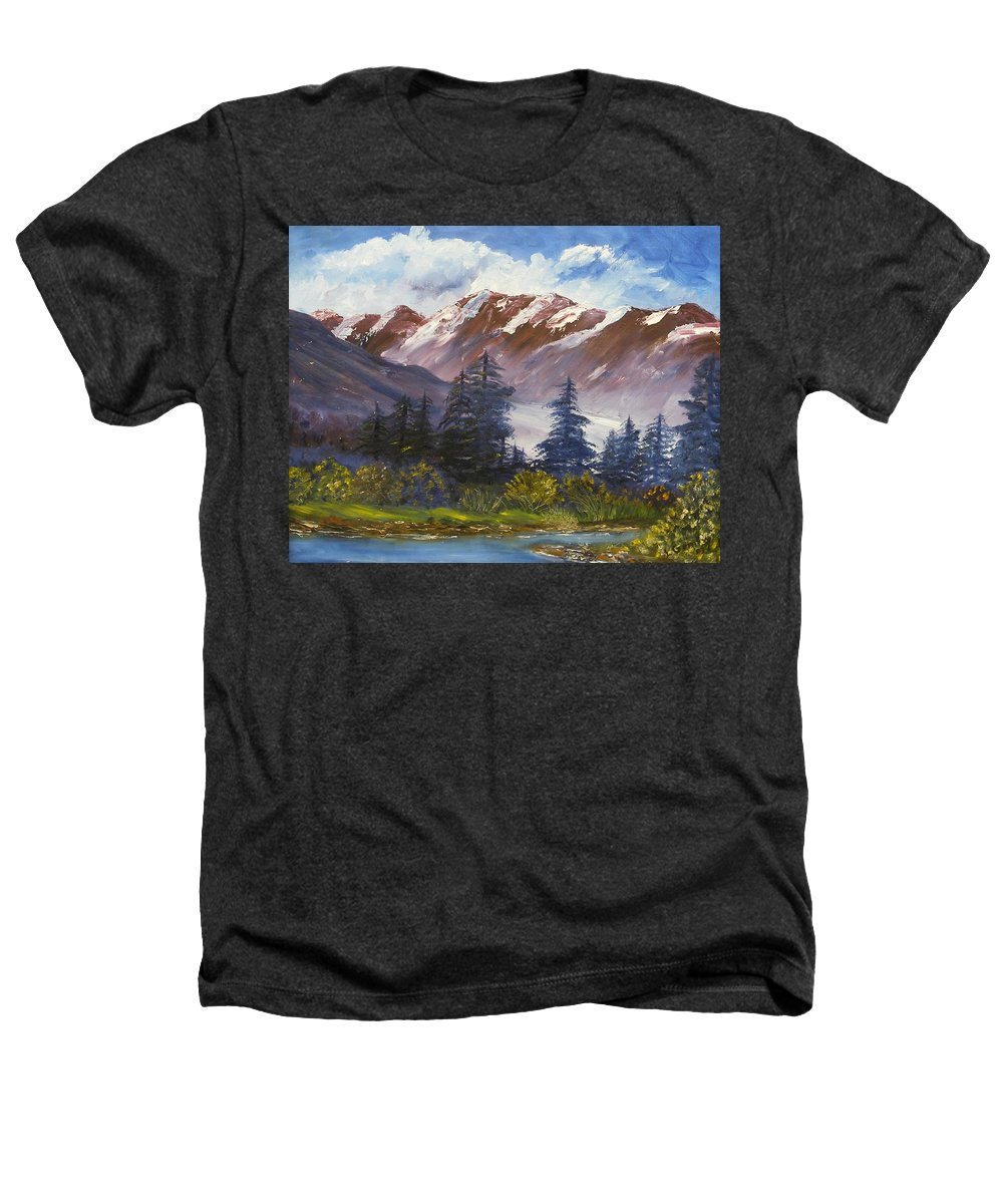 Oil Painting Heathers T-Shirt featuring the painting Mountains I by Lessandra Grimley