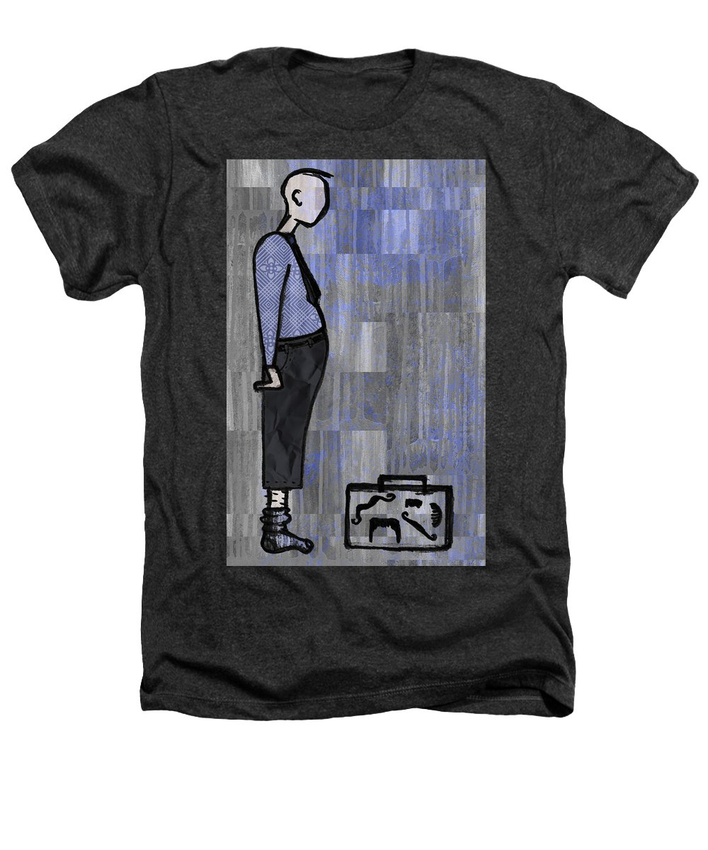 Salesman Heathers T-Shirt featuring the digital art Moustache Salesman by Kelly Jade King