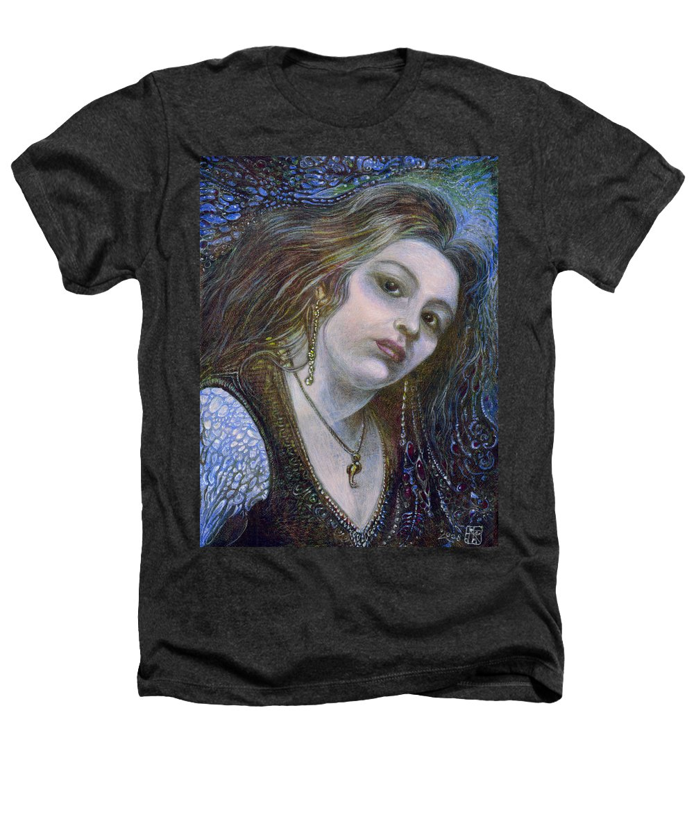 Fantasy Heathers T-Shirt featuring the painting My Mermaid Christan by Otto Rapp