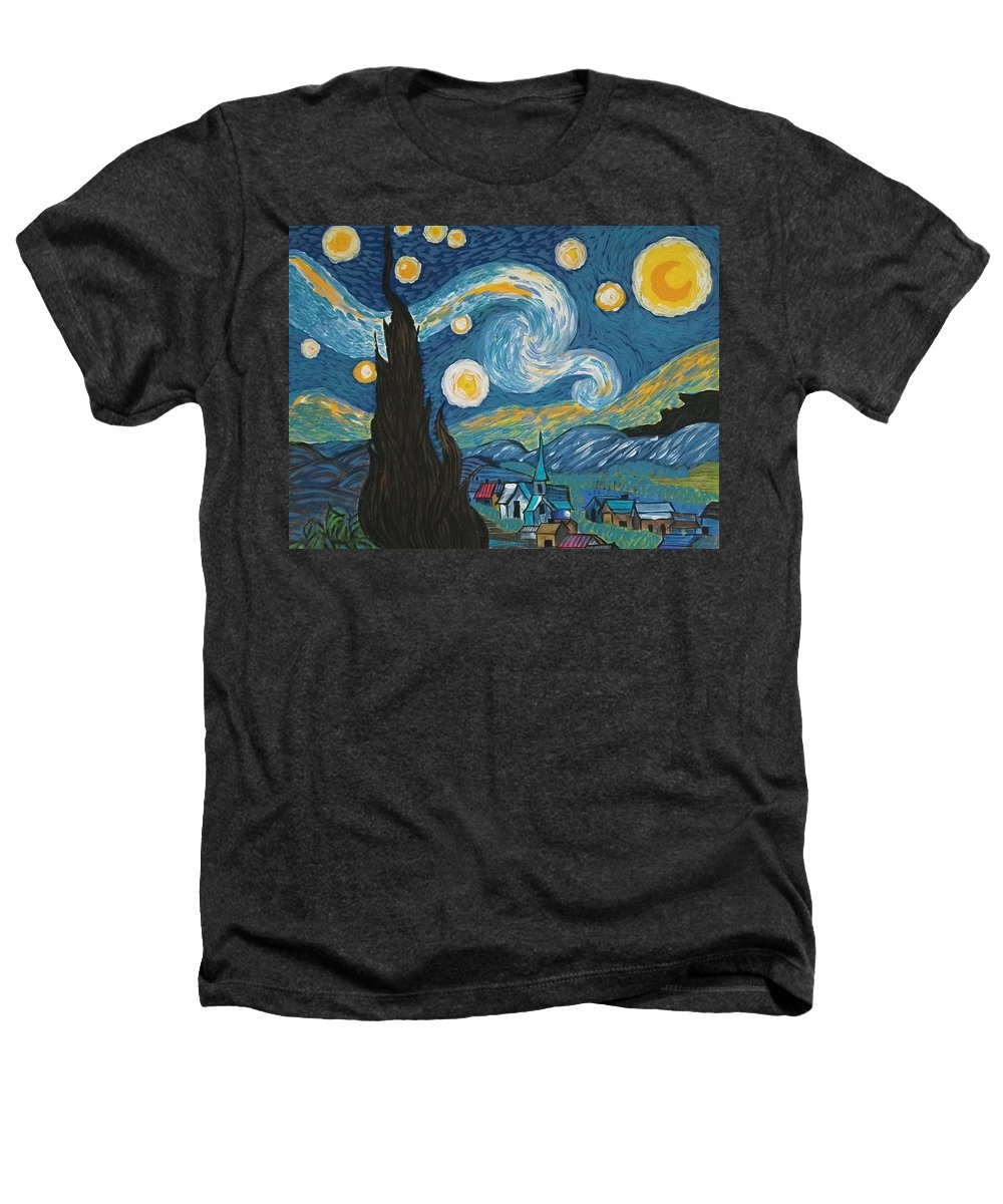 Vincent Heathers T-Shirt featuring the painting My Starry Nite by Angela Miles Varnado
