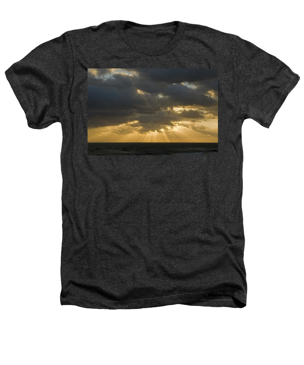 Ocean Sunset Sun Cloud Clouds Ray Rays Beam Beams Bright Wave Waves Water Sea Beach Golden Nature Heathers T-Shirt featuring the photograph New Beginning by Andrei Shliakhau