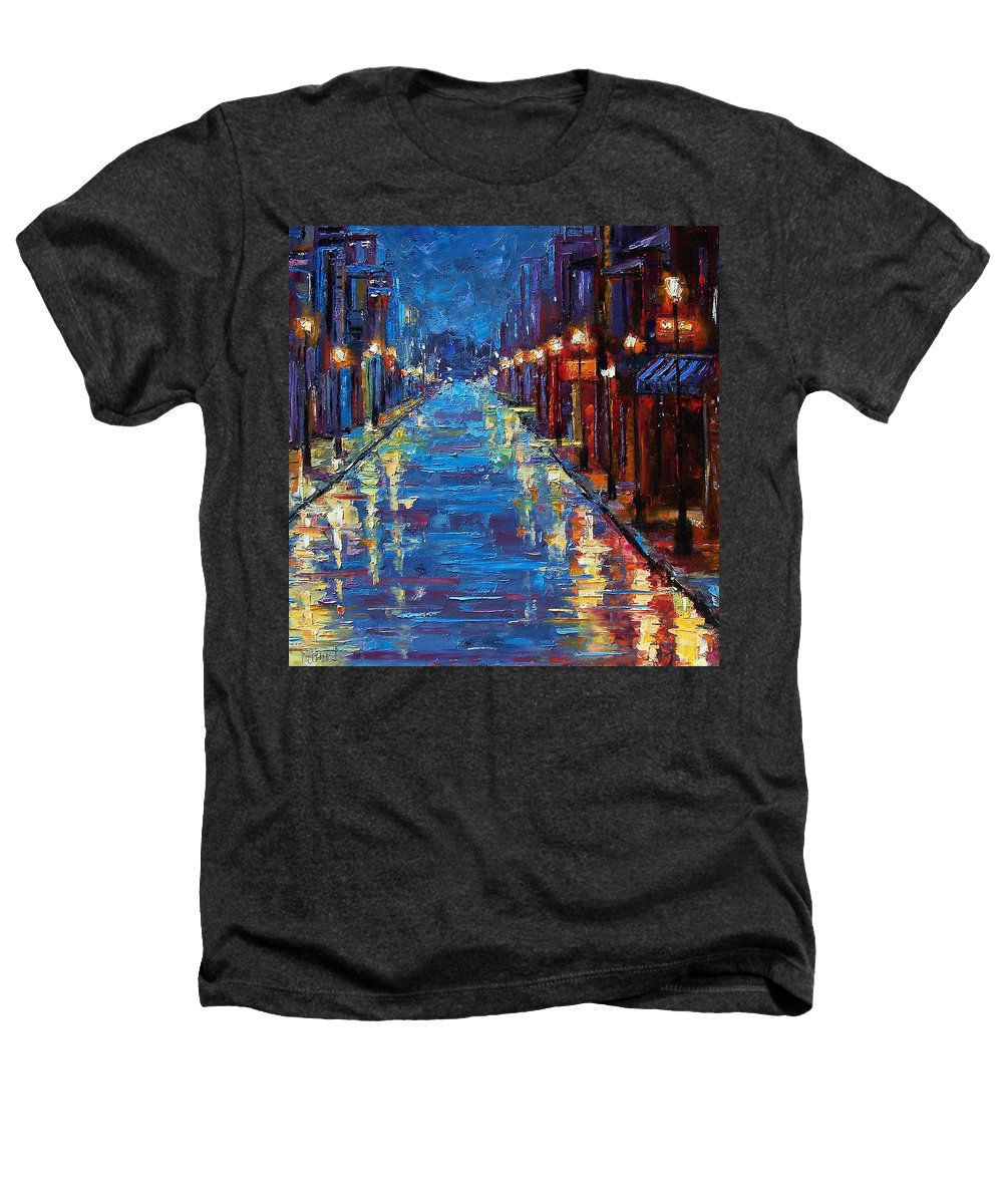 Cityscape Heathers T-Shirt featuring the painting New Orleans Bourbon Street by Debra Hurd