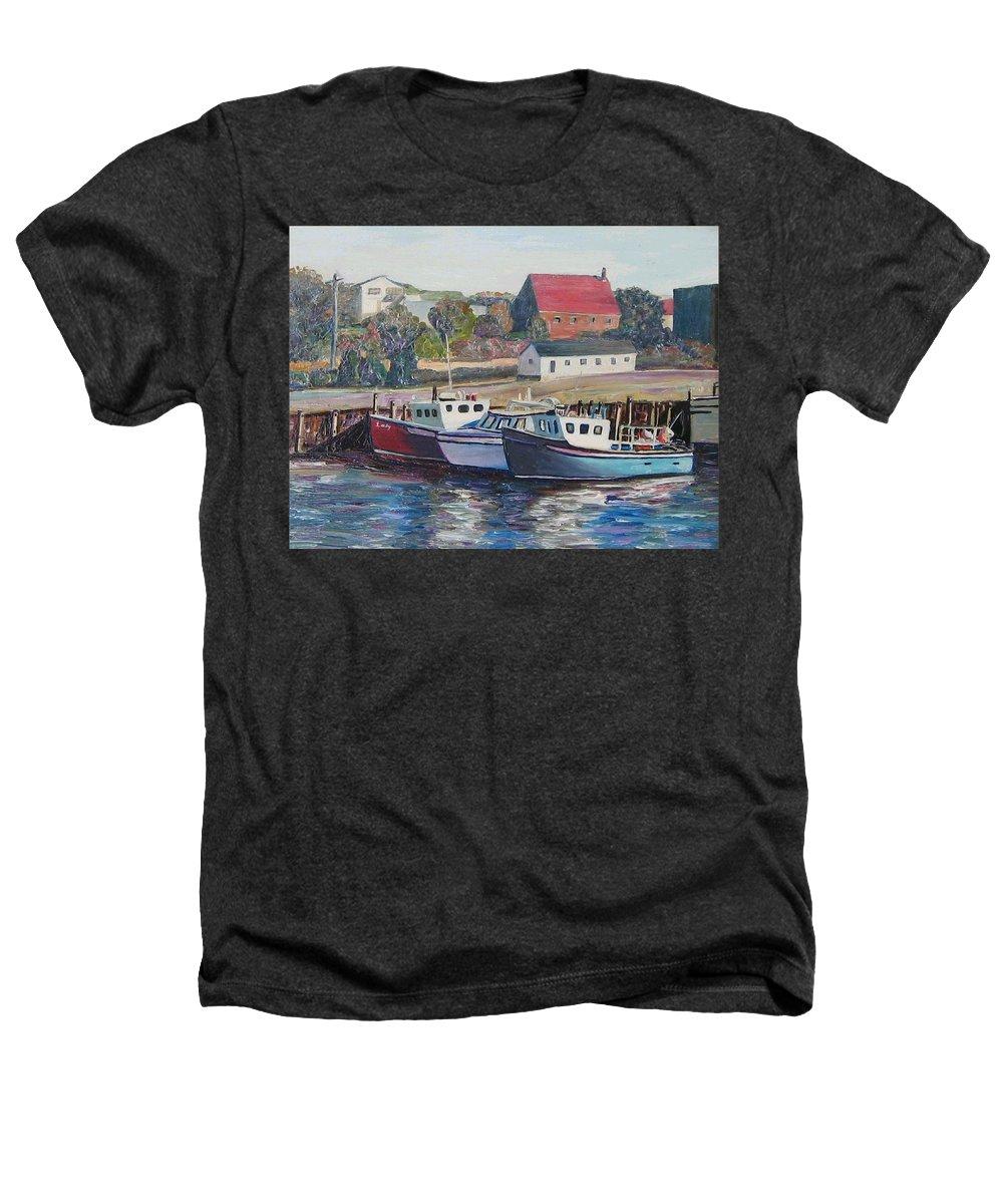 Nova Scotia Heathers T-Shirt featuring the painting Nova Scotia Boats by Richard Nowak