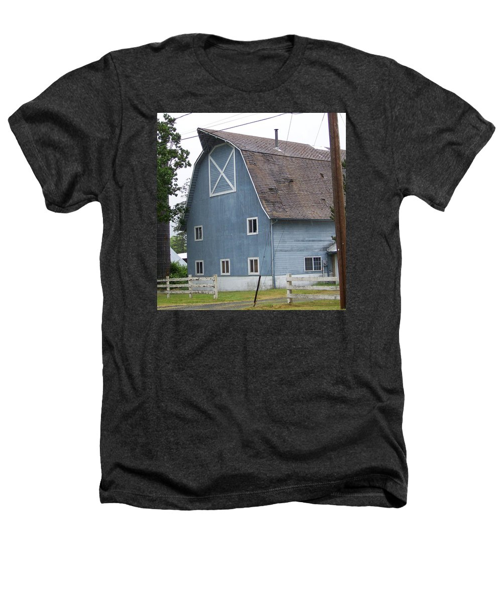 Old Heathers T-Shirt featuring the photograph Old Blue Barn Littlerock Washington by Laurie Kidd