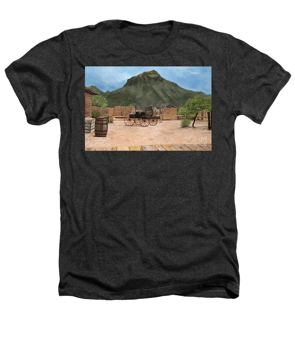 Art Heathers T-Shirt featuring the painting Old Tucson by Mary Rogers