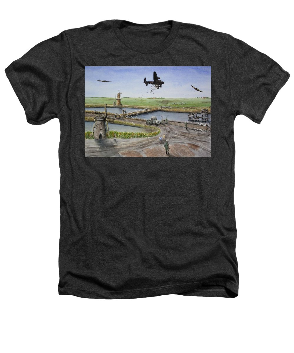 Lancaster Bomber Heathers T-Shirt featuring the painting Operation Manna IIi by Gale Cochran-Smith