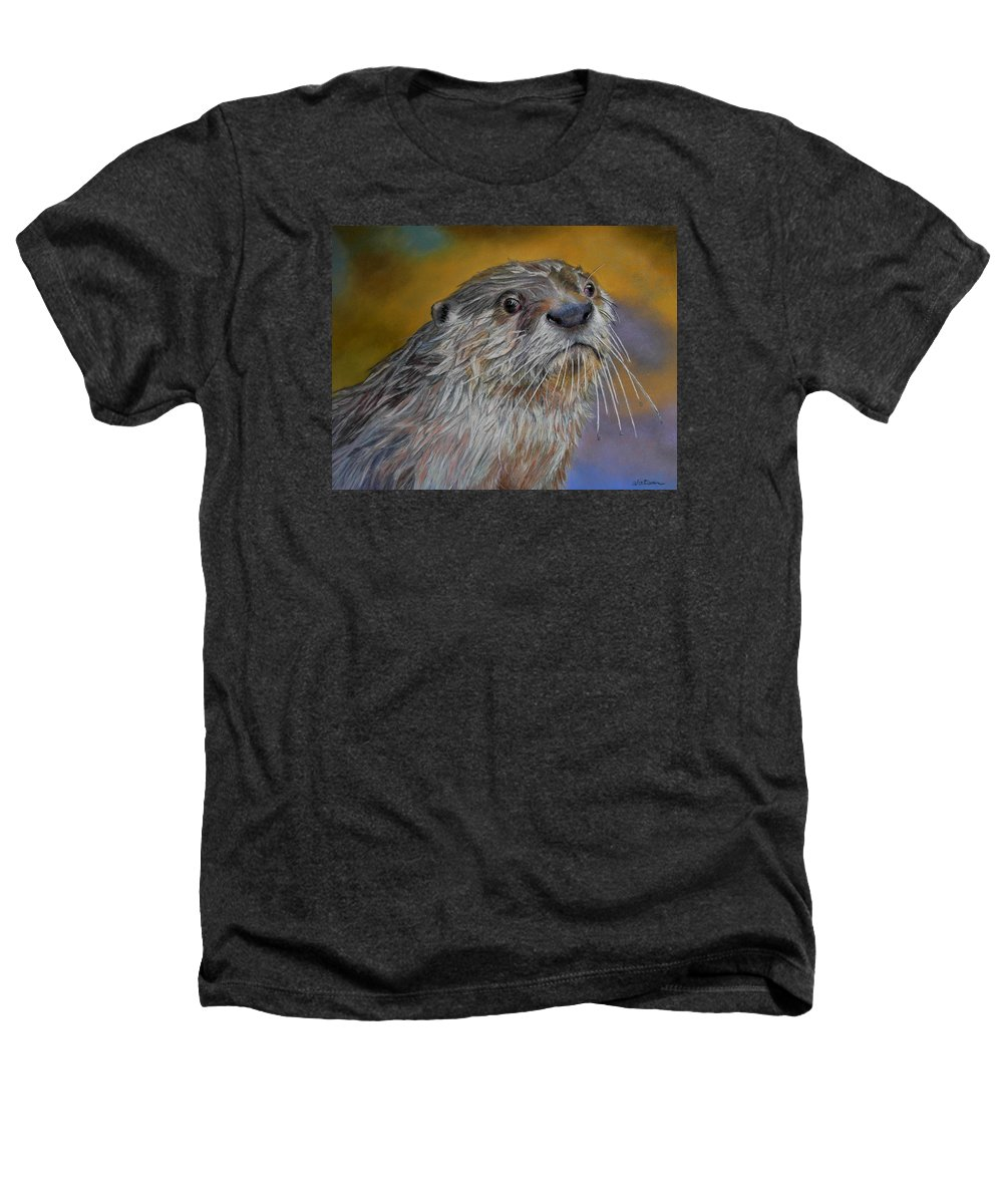 River Otter Heathers T-Shirt featuring the painting Otter Or Not by Ceci Watson
