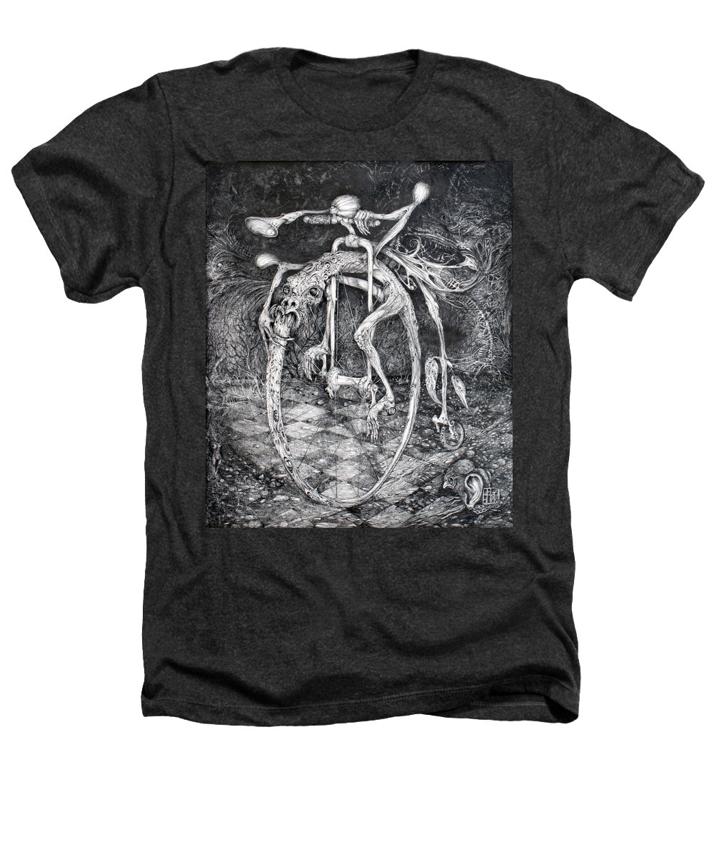 Ouroboros Heathers T-Shirt featuring the drawing Ouroboros Perpetual Motion Machine by Otto Rapp