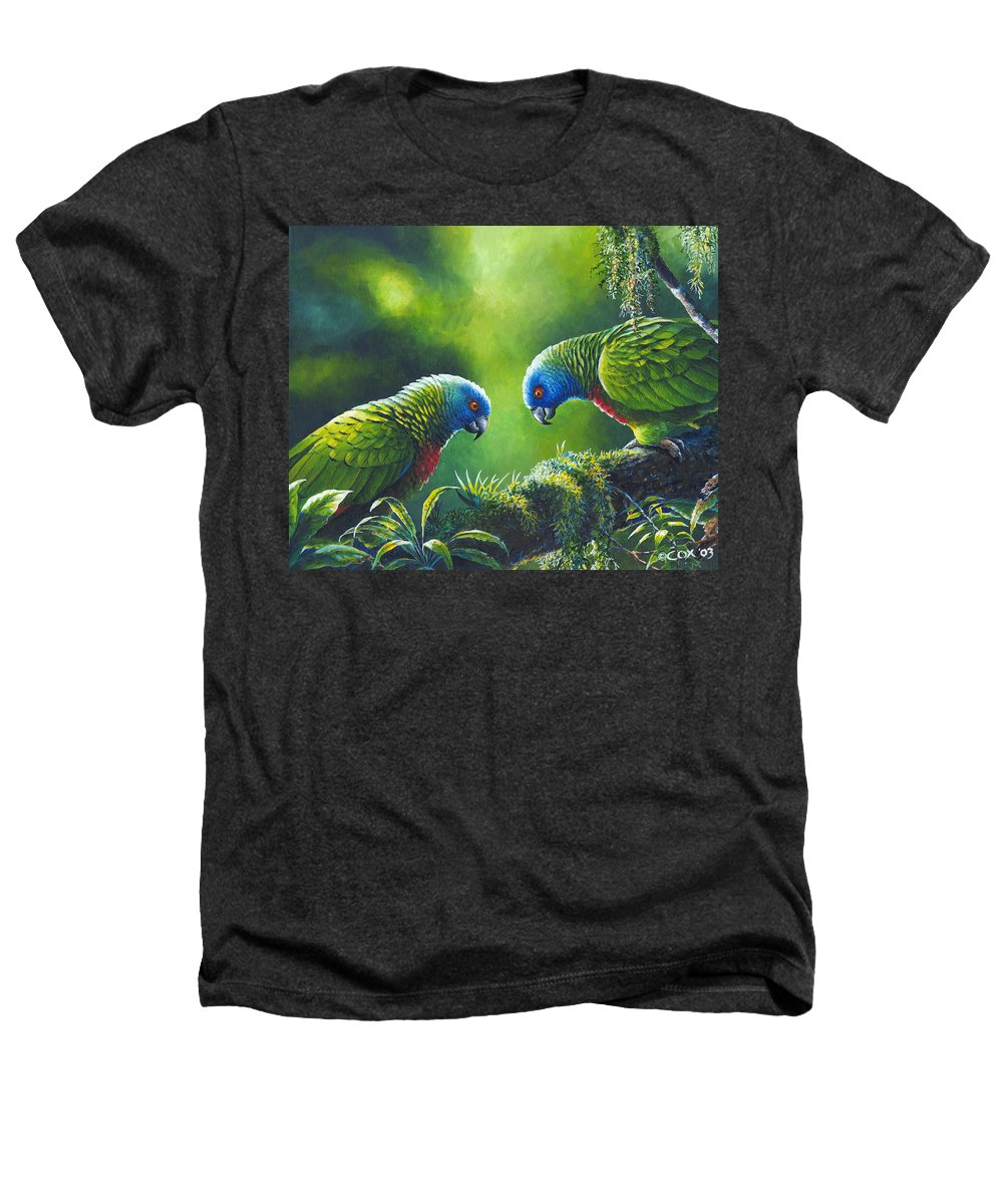 Chris Cox Heathers T-Shirt featuring the painting Out On A Limb - St. Lucia Parrots by Christopher Cox