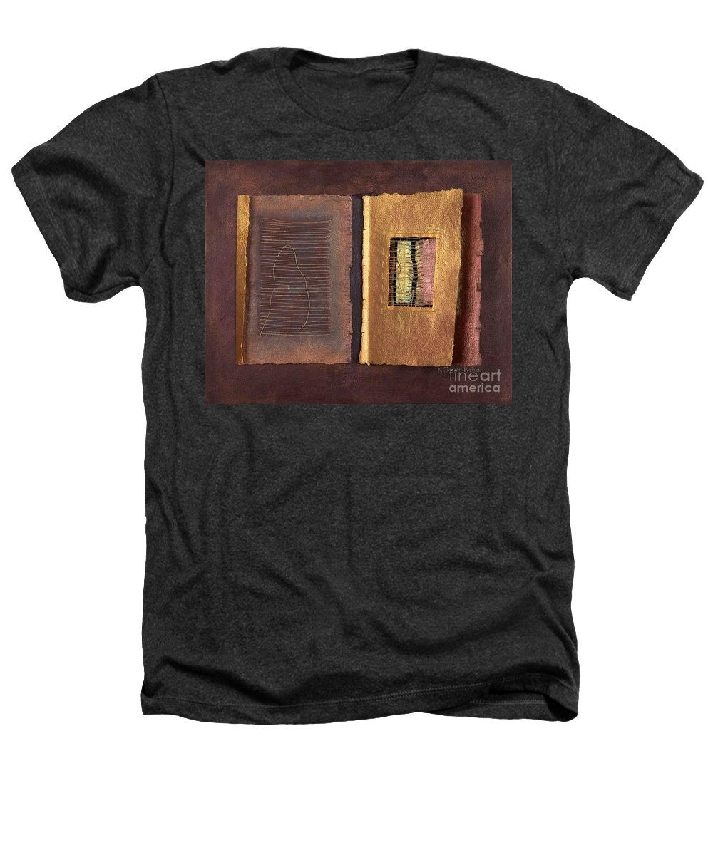 Pageformat Heathers T-Shirt featuring the painting Page Format No 2 Transitional Series by Kerryn Madsen-Pietsch