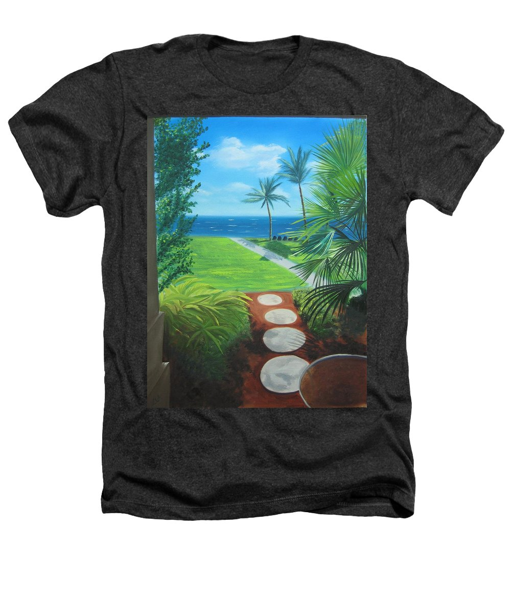 Seascape Heathers T-Shirt featuring the painting Paradise Beckons by Lea Novak