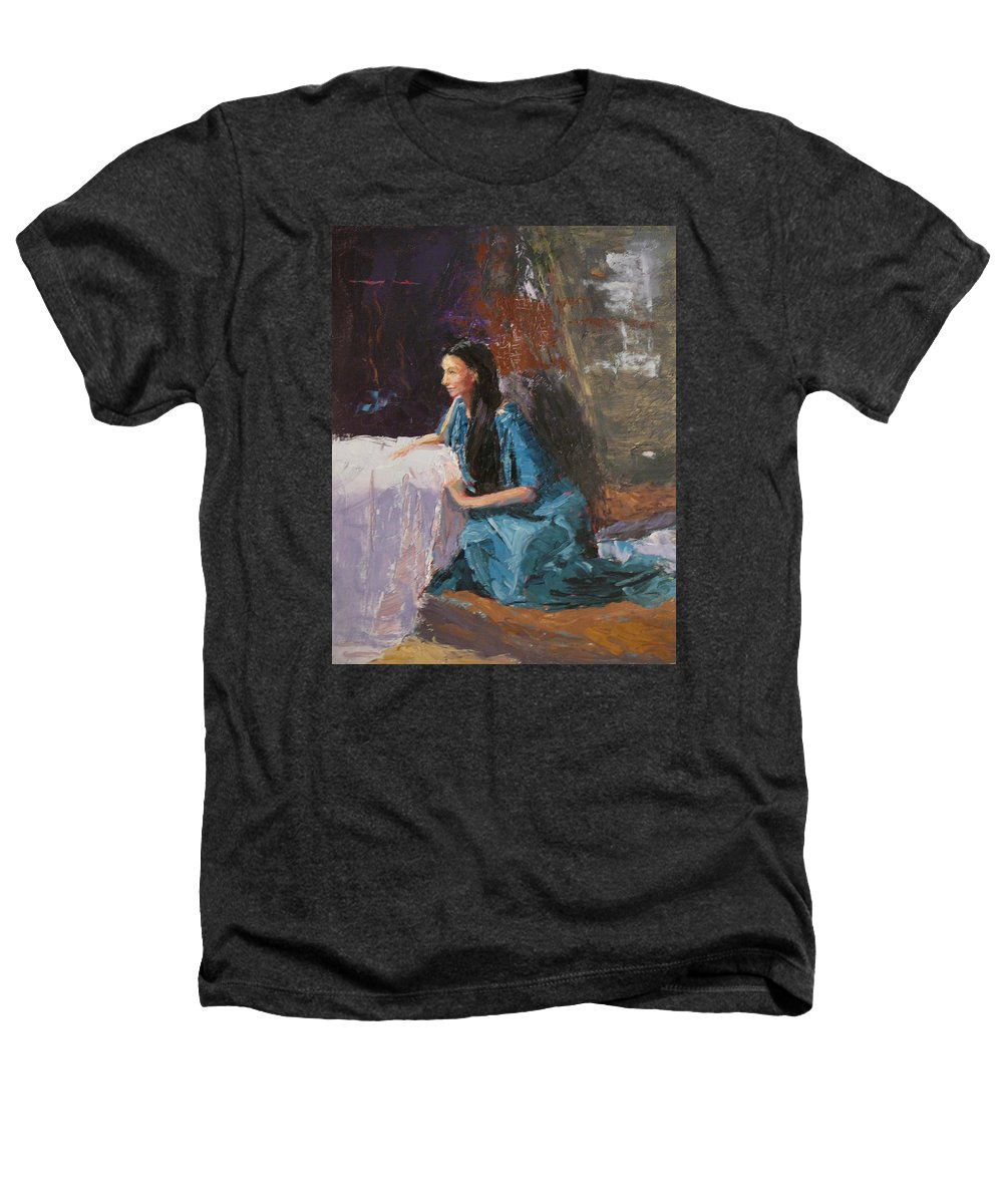Sitting Woman Heathers T-Shirt featuring the painting Penelope by Irena Jablonski