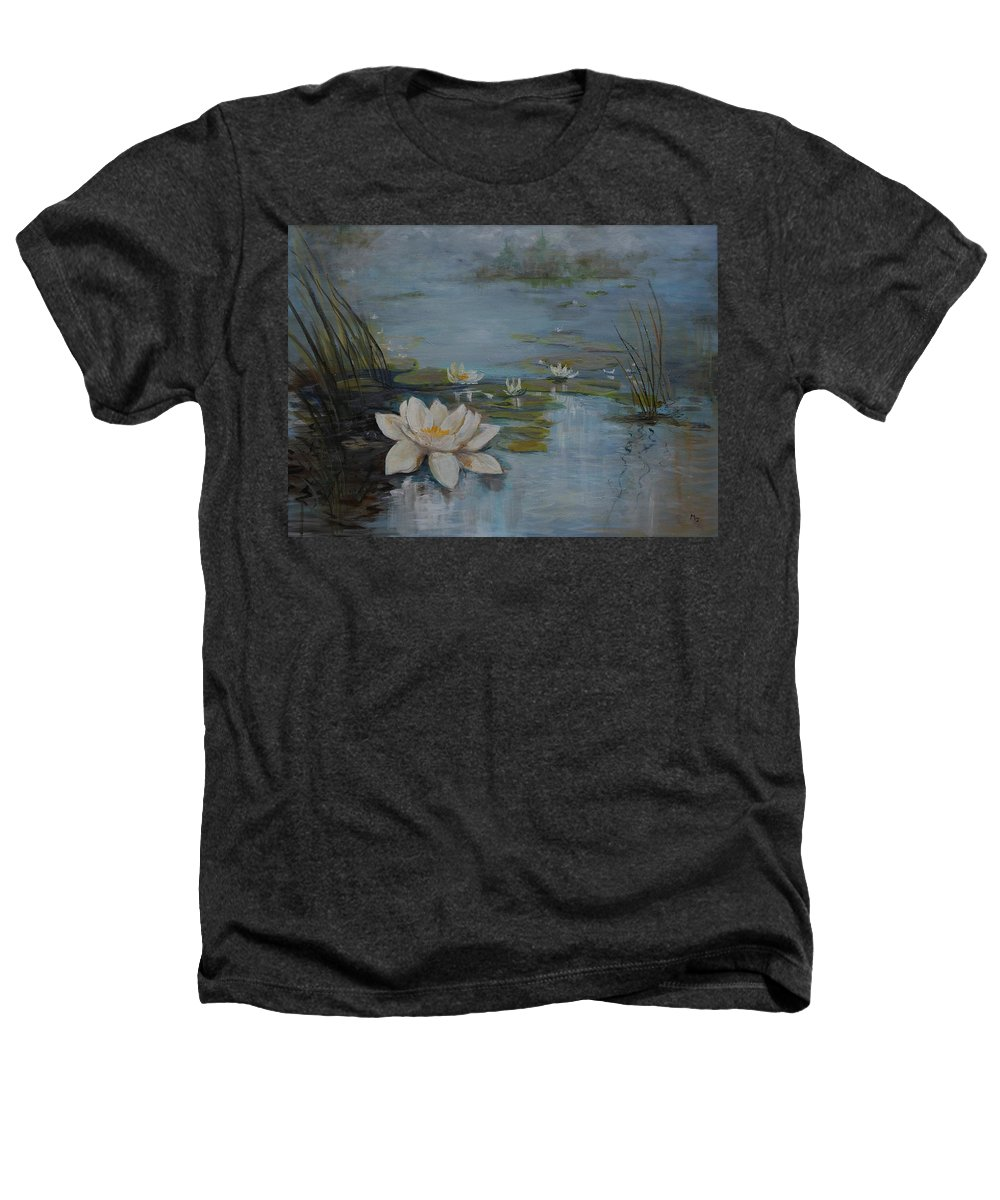 Water Lily Heathers T-Shirt featuring the painting Perfect Lotus - Lmj by Ruth Kamenev