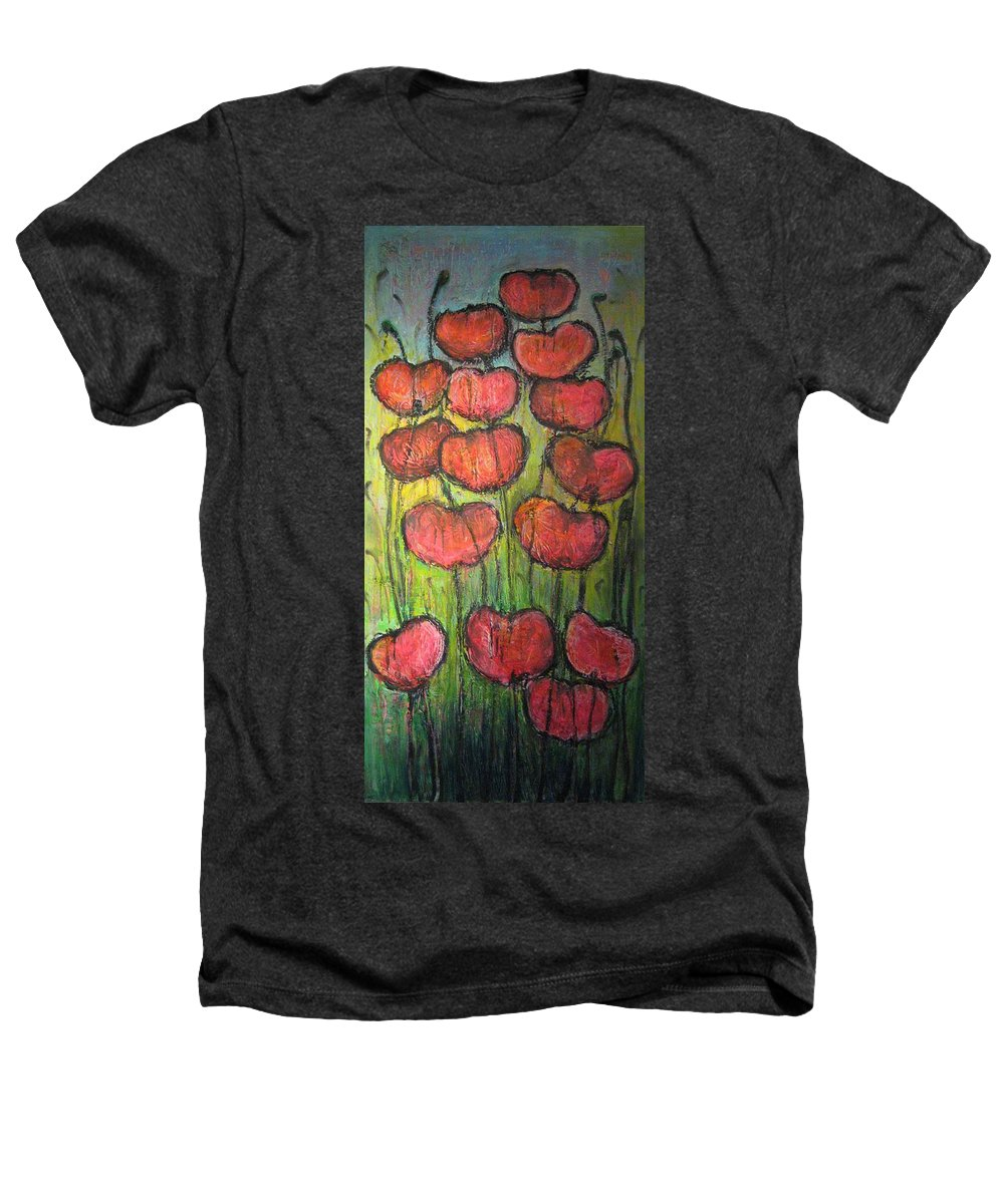 Poppies Heathers T-Shirt featuring the painting Poppies In Oil by Laurie Maves ART