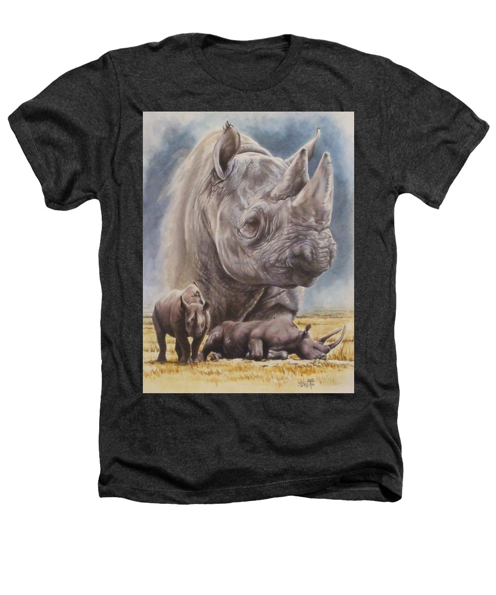 Wildlife Heathers T-Shirt featuring the mixed media Precarious by Barbara Keith