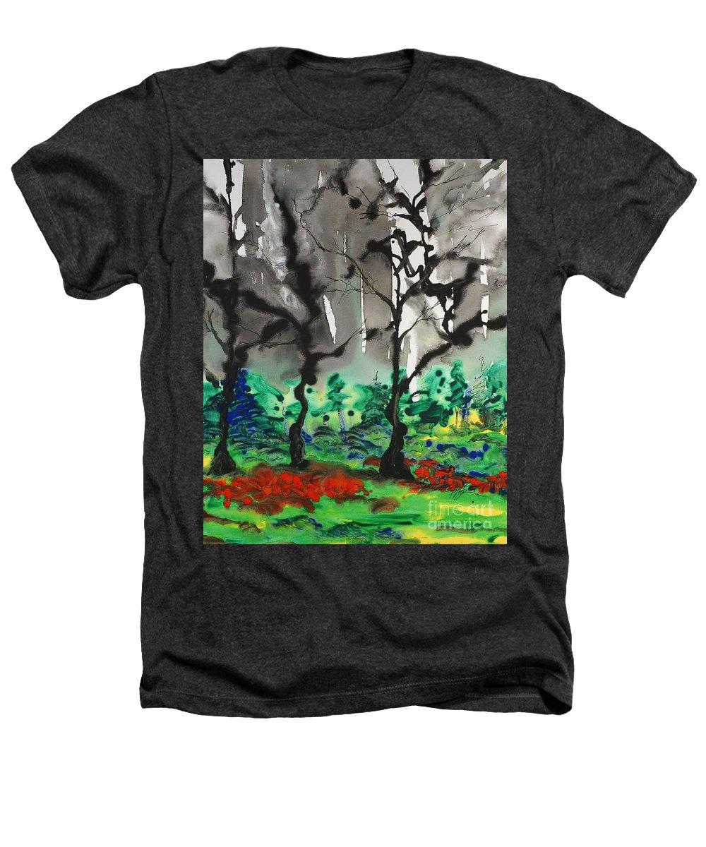 Forest Heathers T-Shirt featuring the painting Primary Forest by Nadine Rippelmeyer