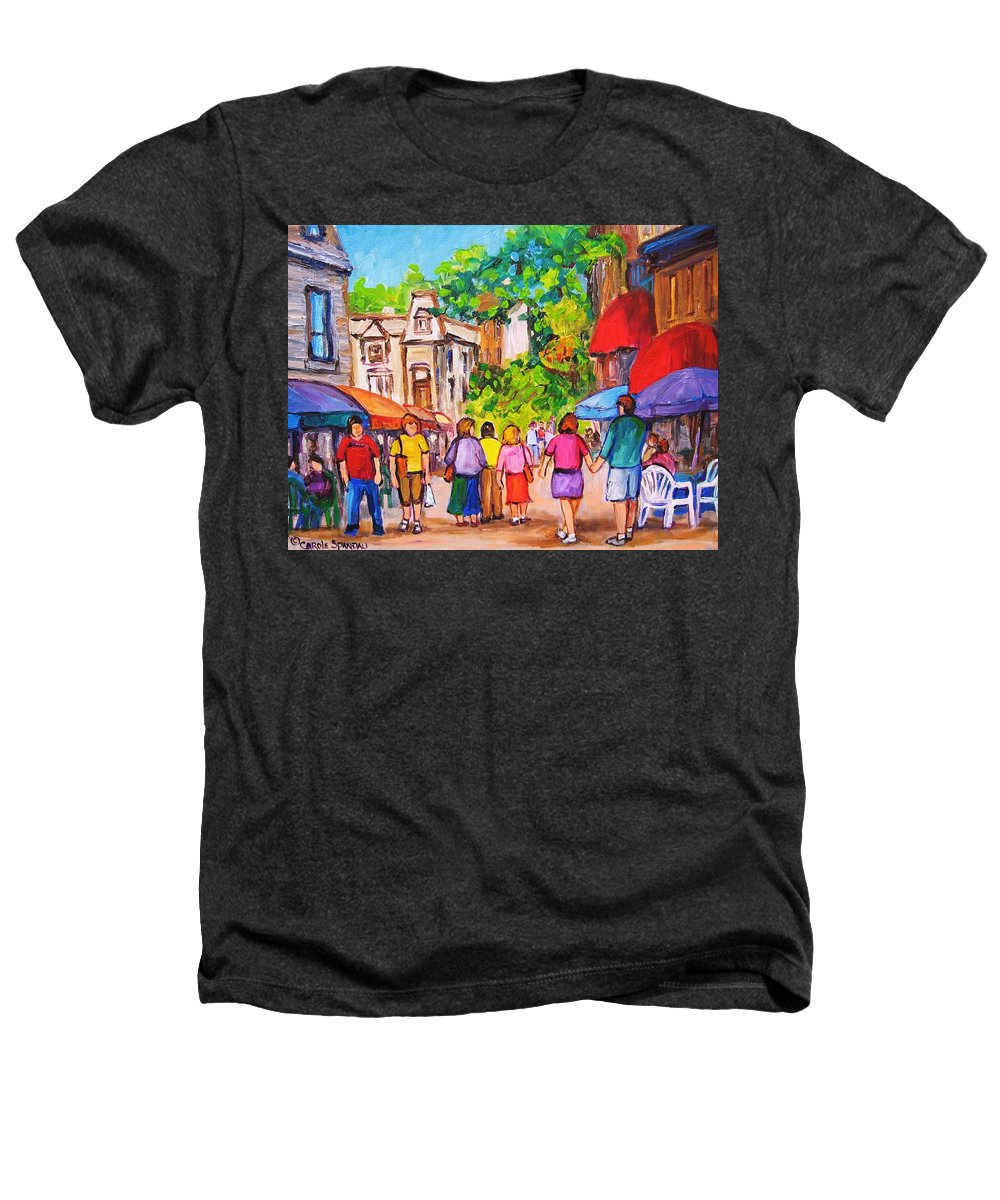 Rue Prince Arthur Montreal Street Scenes Heathers T-Shirt featuring the painting Prince Arthur Street Montreal by Carole Spandau