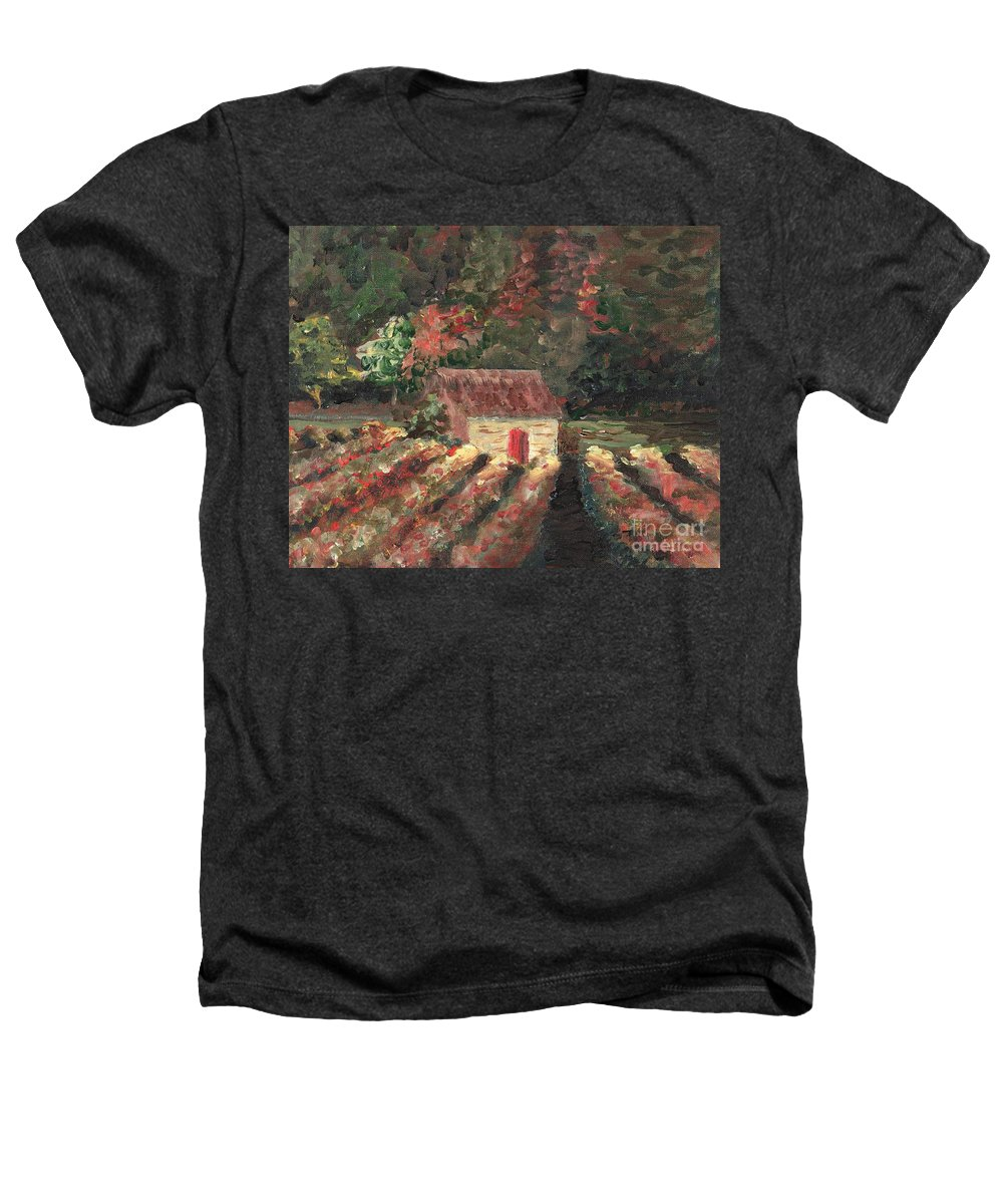 Landscape Heathers T-Shirt featuring the painting Provence Vineyard by Nadine Rippelmeyer