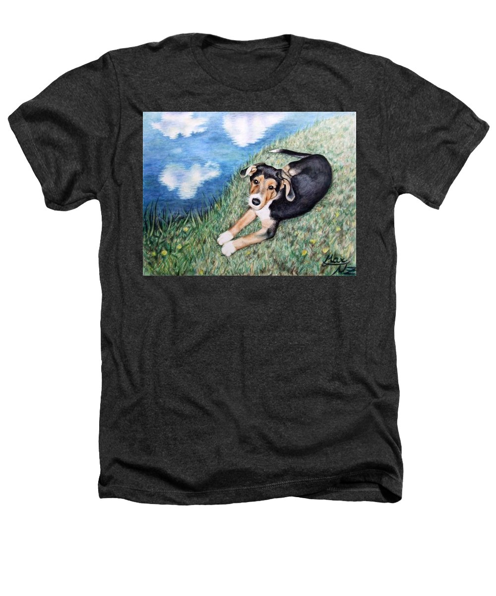 Dog Heathers T-Shirt featuring the painting Puppy Max by Nicole Zeug