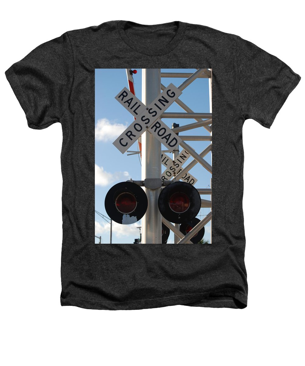 Train Heathers T-Shirt featuring the photograph R X R Crossing by Rob Hans