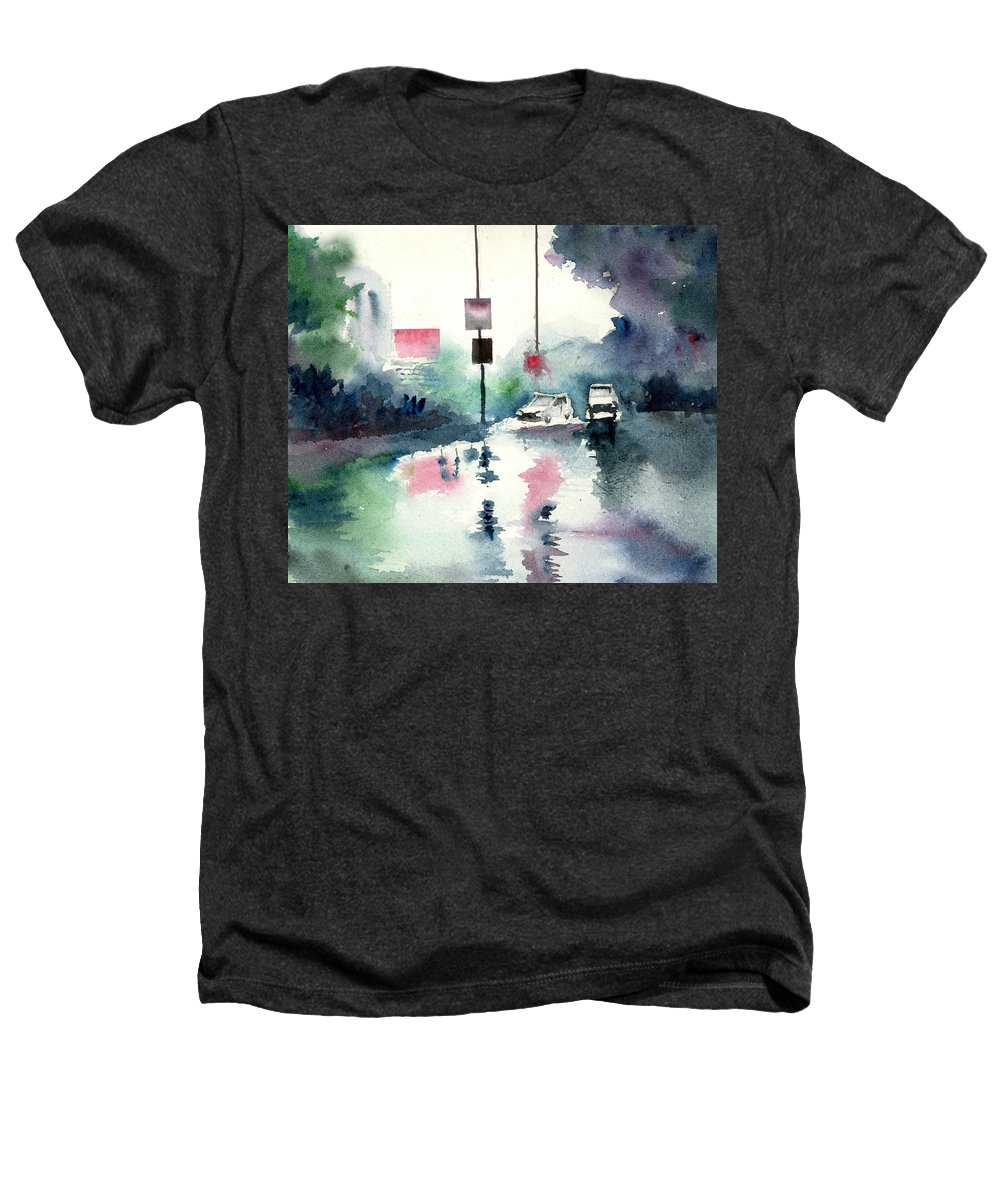 Nature Heathers T-Shirt featuring the painting Rainy Day by Anil Nene