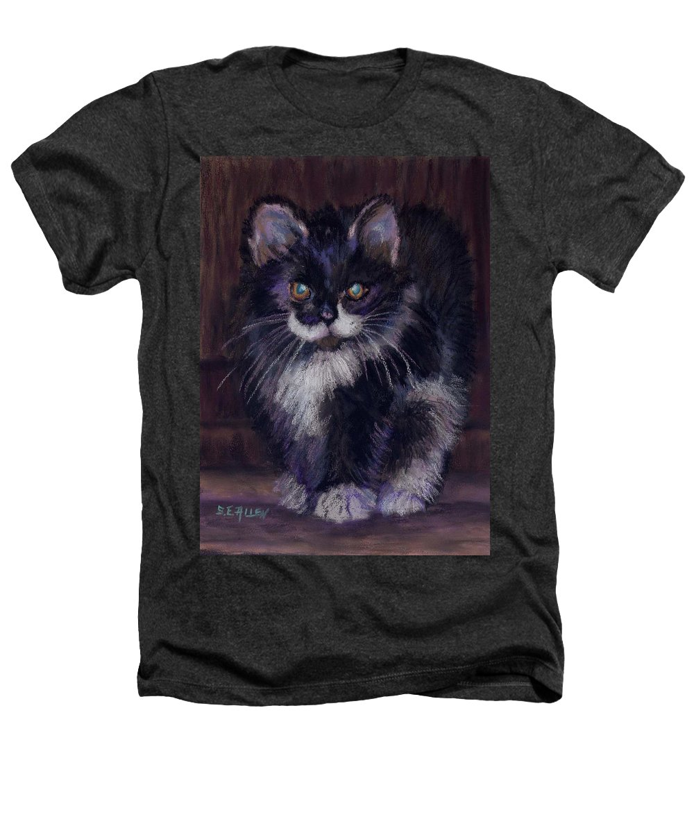 Kitten Heathers T-Shirt featuring the painting Ready For Trouble by Sharon E Allen