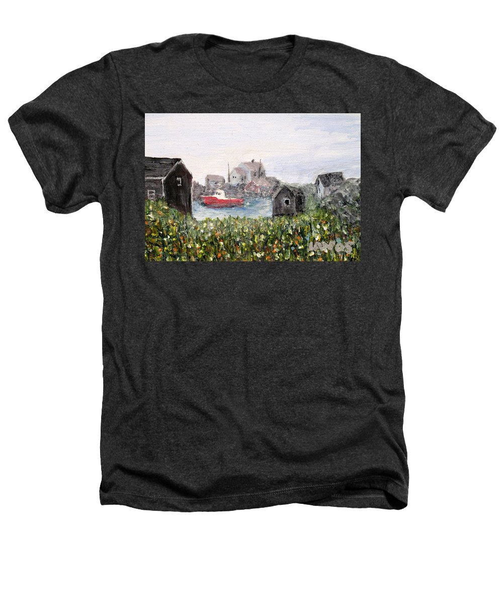 Red Boat Heathers T-Shirt featuring the painting Red Boat In Peggys Cove Nova Scotia by Ian MacDonald
