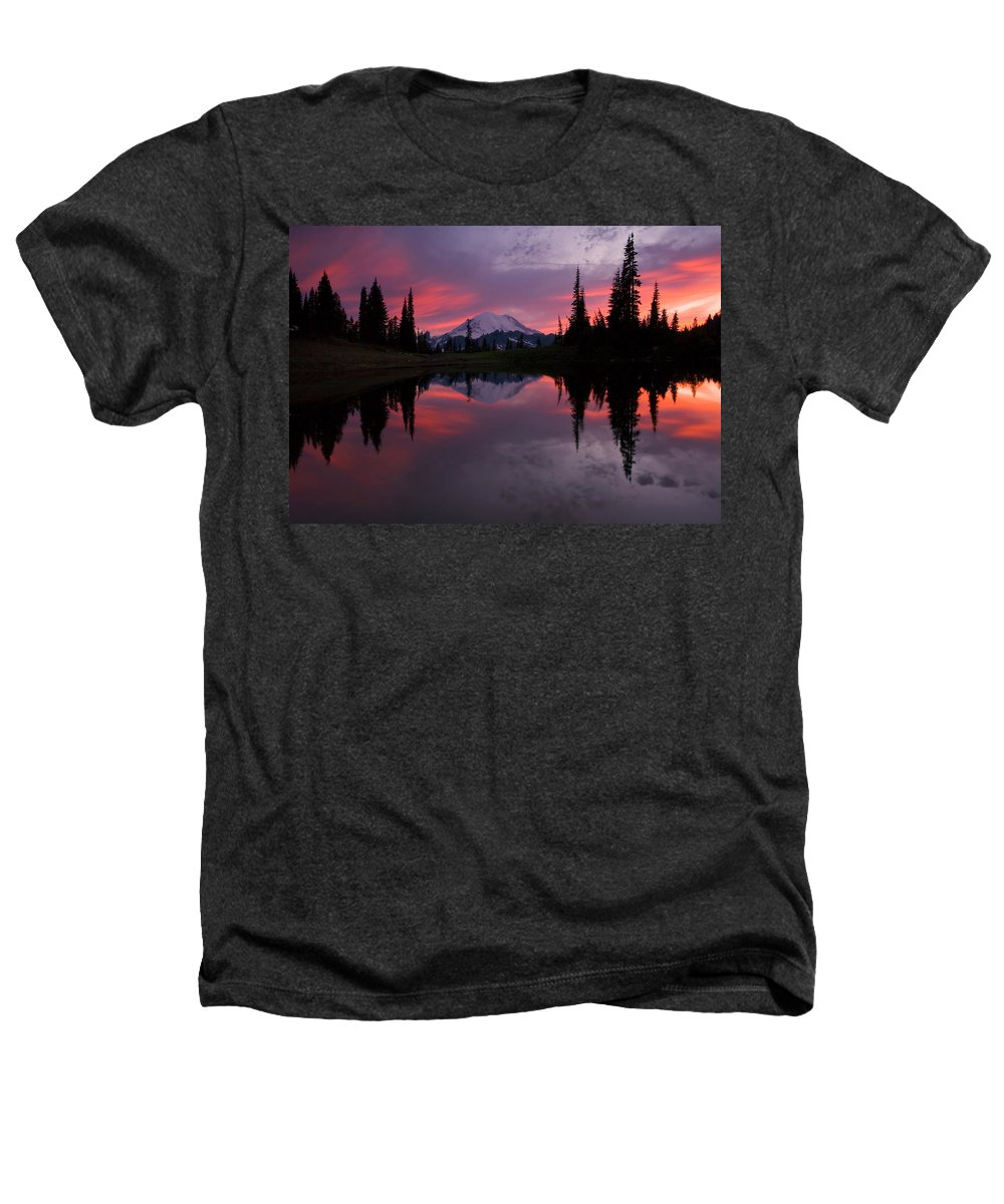 Rainier Heathers T-Shirt featuring the photograph Red Sky At Night by Mike Dawson