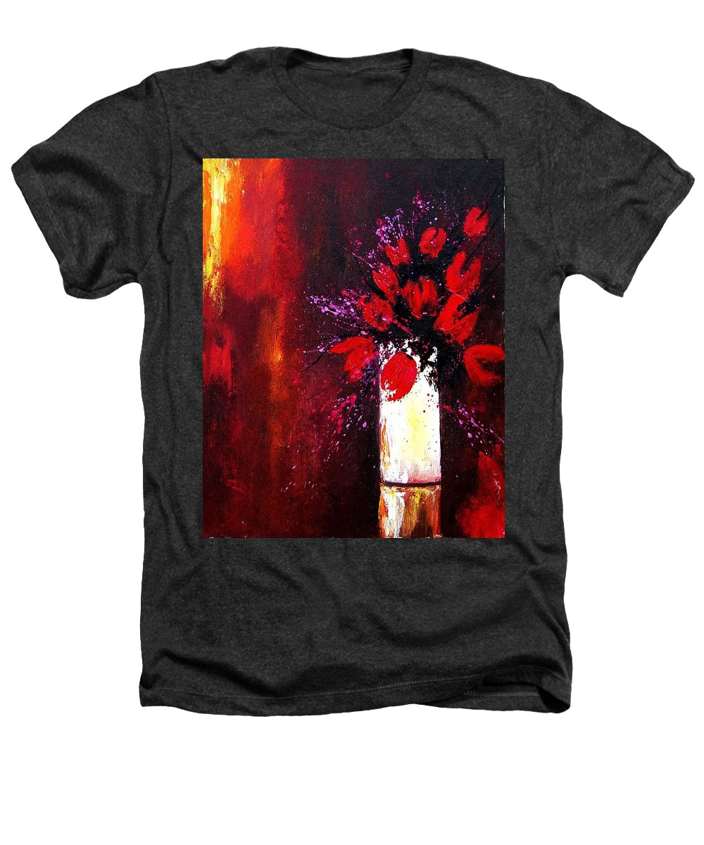 Flowers Heathers T-Shirt featuring the painting Red Tulips by Pol Ledent