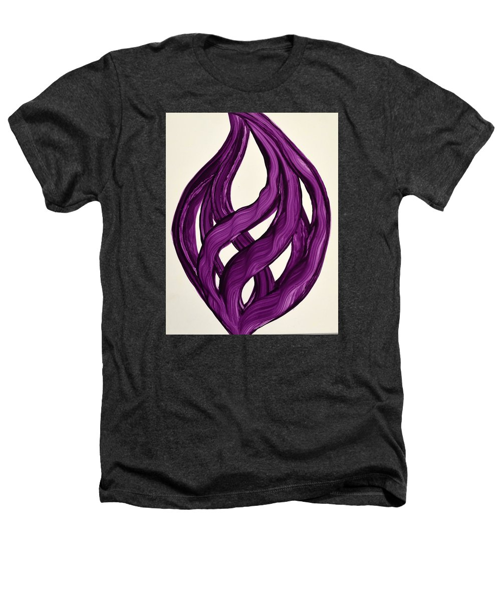 Abstract Art Yupo Comtemporary Modern Pop Romantic Vibrant Heathers T-Shirt featuring the painting Ribbons Of Love-violet by Manjiri Kanvinde