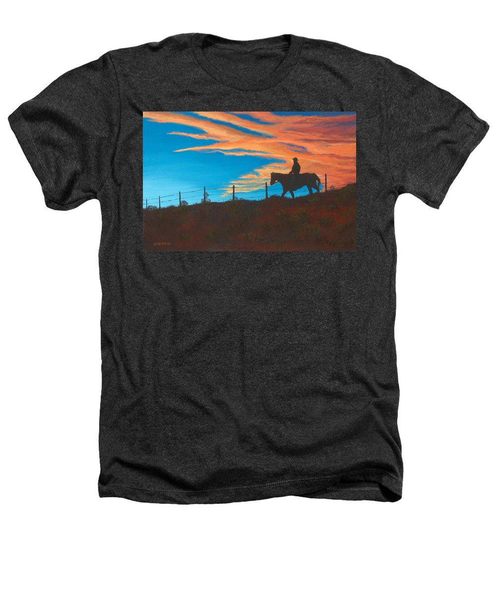 Cowboy Heathers T-Shirt featuring the painting Riding Fence by Jerry McElroy