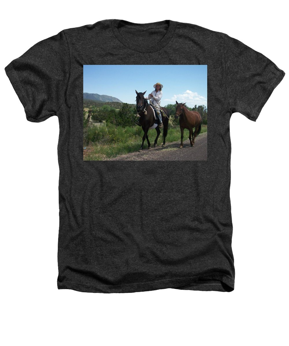 Horses Heathers T-Shirt featuring the photograph Roadside Horses by Anita Burgermeister